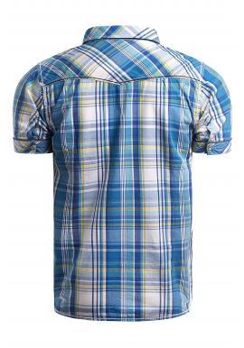 Modrá károvaná košeľa s vreckami na hrudi pre pánov