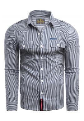 Pánska pásikavá košeľa s vreckami na hrudi v tmavomodrej farbe