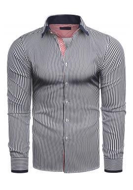 Pásikavá pánska košeľa modro-bielej farby s dlhým rukávom