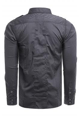 Tmavomodrá pásikavá košeľa s vreckami na hrudi pre pánov