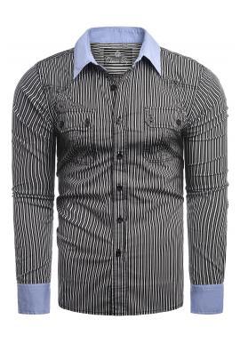 Pásikavá pánska košeľa čiernej farby s dlhým rukávom