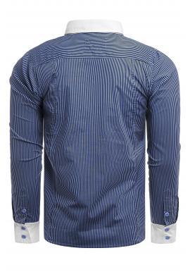 Pánska pásikavá košeľa s dlhým rukávom v modrej farbe