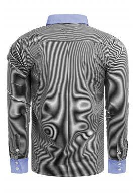 Tmavosivá pásikavá košeľa s dlhým rukávom pre pánov
