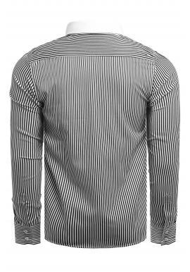 Pánske pásikavé košele s dlhým rukávom v čierno-bielej farbe