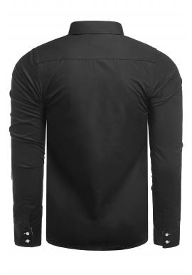 Pánske elegantné košele s dlhým rukávom v čiernej farbe
