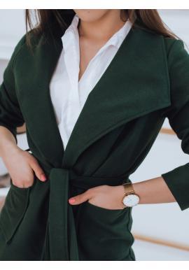 Dámsky štýlový kabát s viazaním v páse v zelenej farbe