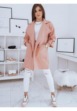 Broskyňový módny kabát s veľkým golierom pre dámy