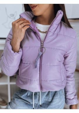 Fialová krátka prešívaná bunda pre dámy