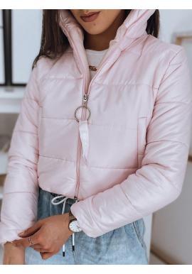 Krátka prešívaná dámska bunda ružovej farby