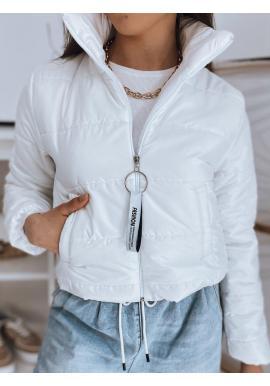 Biela krátka prešívaná bunda pre dámy