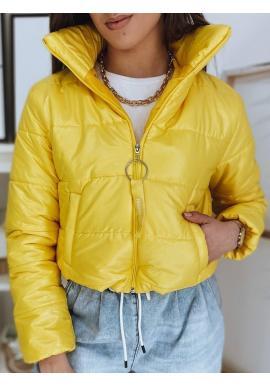 Krátka prešívaná dámska bunda žltej farby