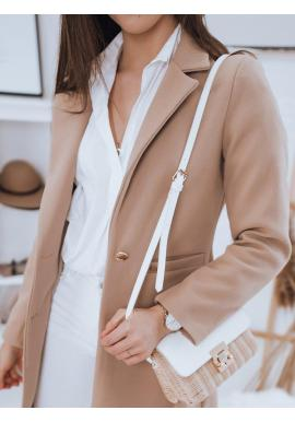 Jednoradový dámsky kabát béžovej farby s dvomi gombíkmi