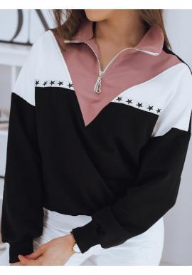 Štýlová dámska mikina čiernej farby so zapínaným rolákom