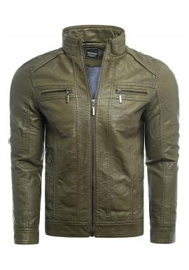 Pánska prechodná kožená bunda s prešívaním v zelenej farbe