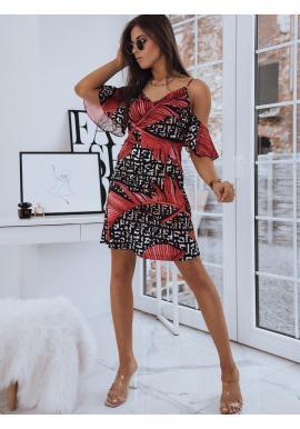 Čierne letné šaty s motívom listov pre dámy