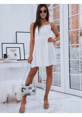 Dámske módne šaty s mašľou na chrbte v bielej farbe