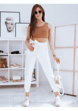 Dámske módne nohavice s viazaním v páse v bielej farbe
