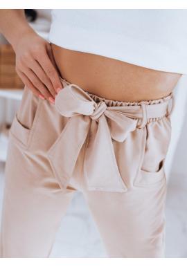 Módne dámske nohavice béžovej farby s viazaním v páse