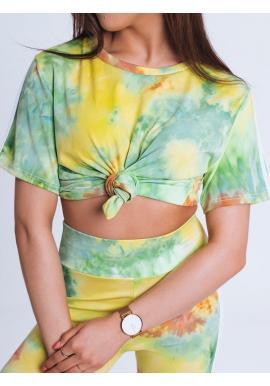 Dámska štýlová súprava legín a trička s potlačou v zelenej farbe