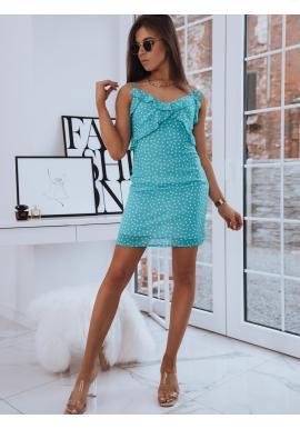 Tyrkysové bodkované šaty s ozdobnými volánmi pre dámy