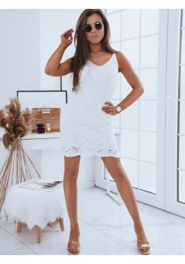 Dámske ažúrové šaty na ramienka v bielej farbe