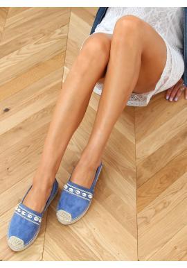 Semišové dámske espadrilky modrej farby s mušľami