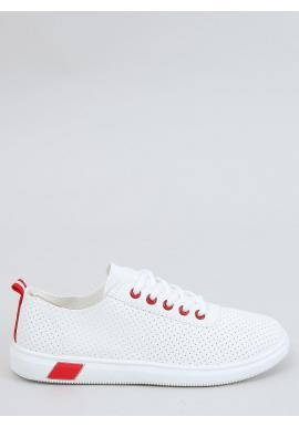 Bielo-červené pohodlné tenisky s dierkovanou textúrou pre dámy