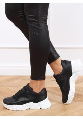 Dámske športové tenisky s vysokou podrážkou v čiernej farbe