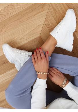 Biele športové tenisky s vysokou podrážkou pre dámy