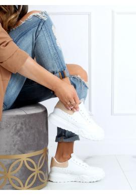 Módne dámske tenisky bielej farby s béžovými doplnkami