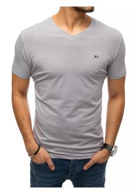 Svetlosivé módne tričko s véčkovým výstrihom pre pánov