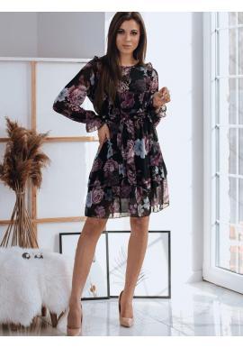 Dámske kvetované šaty s volánmi v čiernej farbe