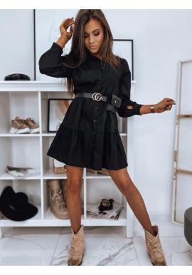 Čierne košeľové šaty s volánmi pre dámy