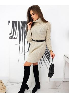 Dámske pletené šaty s rolákom v béžovej farbe