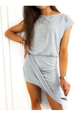 Svetlosivé letné šaty s asymetrickou dolnou časťou pre dámy