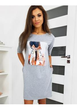 Dámske pohodlné šaty s nášivkou v sivej farbe