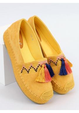 Dámske semišové espadrilky s vysokou podrážkou v žltej farbe