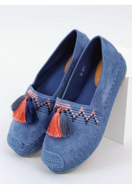 Semišové dámske espadrilky modrej farby s vysokou podrážkou