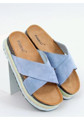 Semišové dámske šľapky modrej farby s vysokou podrážkou