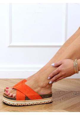 Oranžové semišové šľapky s vysokou podrážkou pre dámy