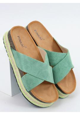 Dámske semišové šľapky s vysokou podrážkou v zelenej farbe