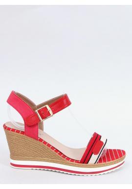 Dámske módne sandále s klinovým podpätkom v červenej farbe