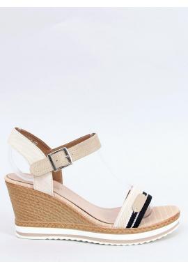 Módne dámske sandále béžovej farby s klinovým podpätkom