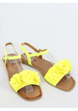 Žlté letné sandále s kvetmi pre dámy