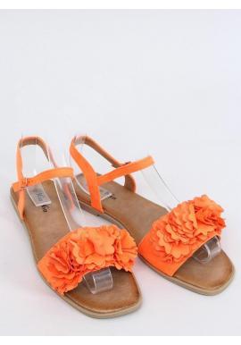 Dámske letné sandále s kvetmi v oranžovej farbe