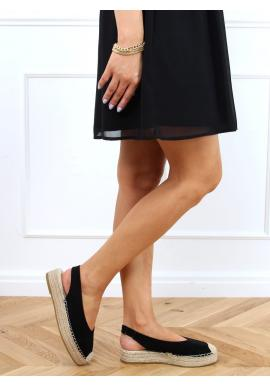 Semišové dámske espadrilky čiernej farby s vysokou podrážkou