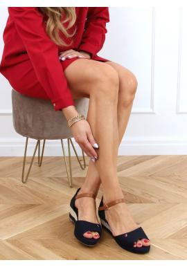 Tmavomodré pohodlné sandále s nízkym podpätkom pre dámy