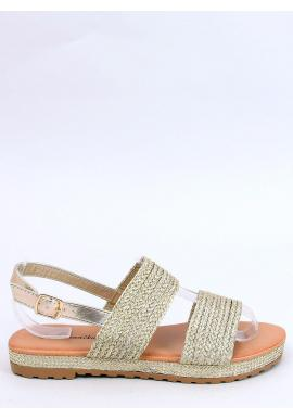 Zlaté štýlové sandále pre dámy
