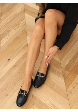 Klasické dámske mokasíny čiernej farby so zlatou ozdobou