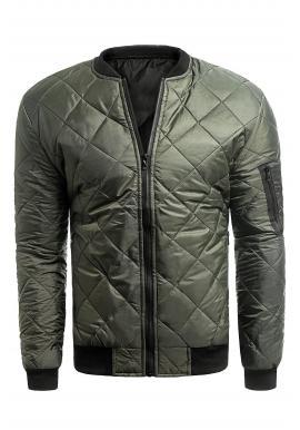 Prešívaná pánska bunda khaki farby na jar